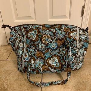 Vera Bradley Large Duffel Bag, Blue/Brown Paisley